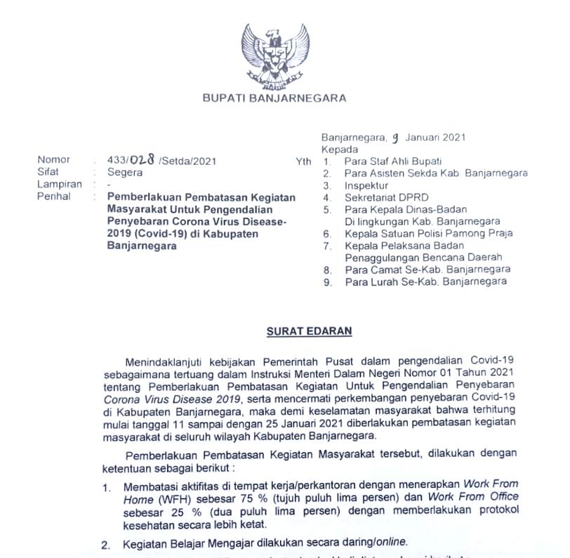 Banjarnegara Resmi Berlakukan PPKM Mulai 11 Januari